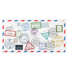retro postal envelope template vector image
