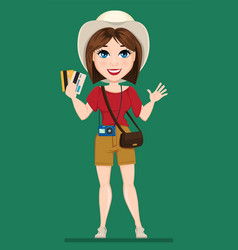 tourist woman traveler holding credit cards and vector image vector image