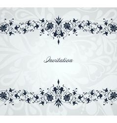 Vintage floral blue frame background vector image