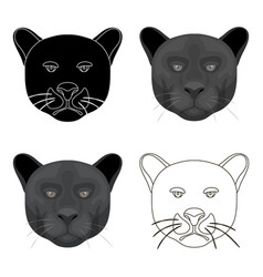 black panther icon in cartoon style isolated on vector image vector image