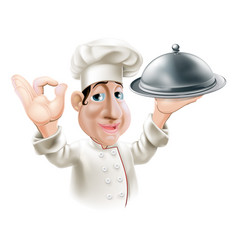 Cartoon chef with serving tray vector