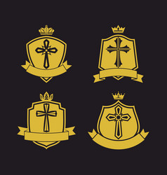 The shield with the cross of jesus and ribbon vector