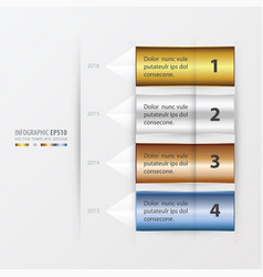 Timeline report template gold bronze silver vector