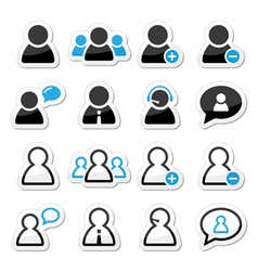 User man icon labels set for website vector image