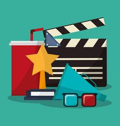 Collection cinema movie glasses award soda speaker vector