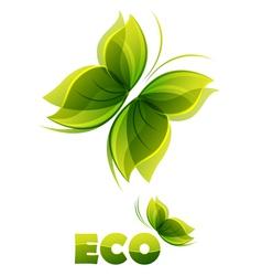 Eco logo - two green butterflies vector image