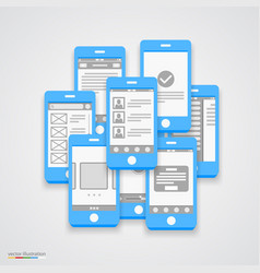 flat phone screen collage vector image