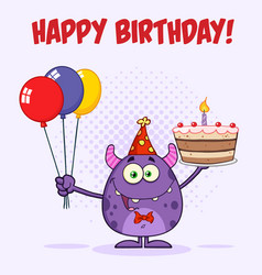 funny monster holding birthday cake vector image vector image