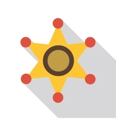 Gold star of sheriff icon flat style vector image