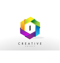i letter logo corporate hexagon design vector image
