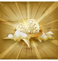 Angel wings old style background vector