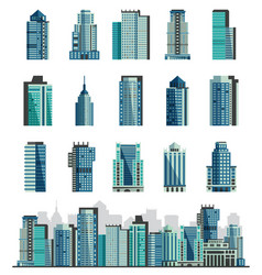 building skyscraper or city skyline set vector image