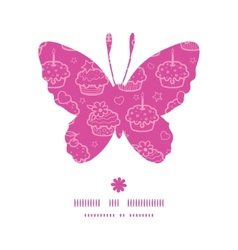 colorful cupcake party butterfly silhouette vector image vector image