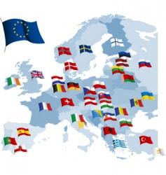 European country flags and map vector image vector image