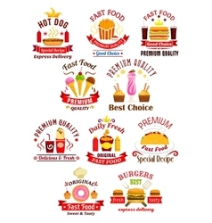 Fast food emblems with ribbons vector image vector image