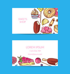 Hand drawn sweets or pastry shop business vector