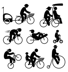 people cyclist icons vector image vector image