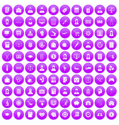 100 statistic data icons set purple vector