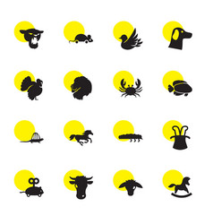 16 animal icons vector image