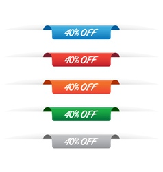 40 percent off paper tag label vector