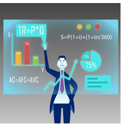 A businessman stands in front of a virtual board vector