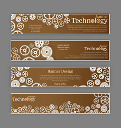 abstract gear wheel and circuit board banner set vector image