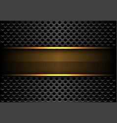 Abstract gold banner on dark grey circle mesh vector