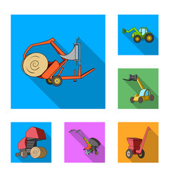Agricultural machinery flat icons in set vector