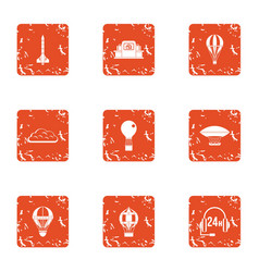 air call service icons set grunge style vector image