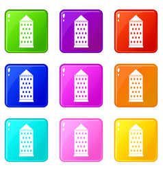 Ancient building icons 9 set vector