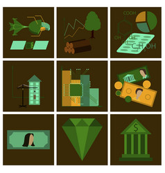 Assembly of flat icons economics business finance vector