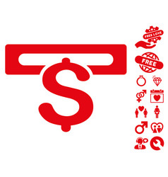 Banking machine icon with valentine bonus vector