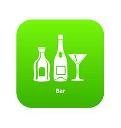 bar icon green vector image