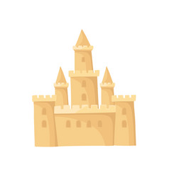 Big castle made of sand fortress with high towers vector