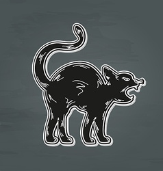 Black angry cat vector