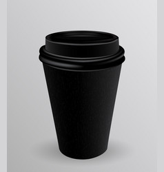 black paper cup for hot coffee vector image