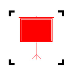 blank projection screen red icon inside vector image