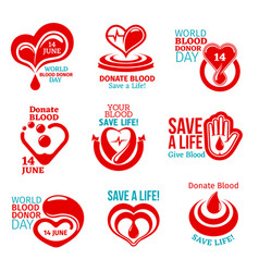 Blood donor day icon for health charity design vector