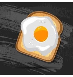 Breakfast bread toast with fried egg Good vector