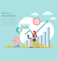businesswoman working investment on laptop vector image