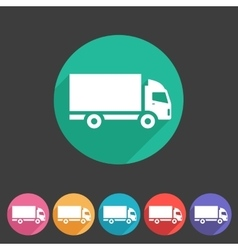 Cargo truck flat icon web sign symbol logo label vector image