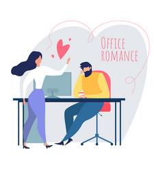 Cartoon man woman flirt love relationship at work vector