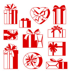 celebration icon set of gift boxes vector image
