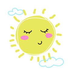 child drawing sun cute cartoon character vector image