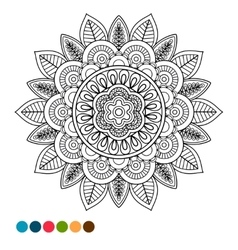 circle mandala ornament antistress coloring vector image