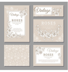 Classic wedding vintage invitation cards with vector