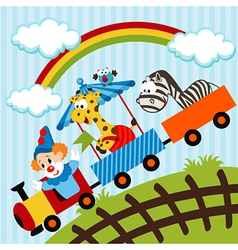 clown and animals traveling train vector image