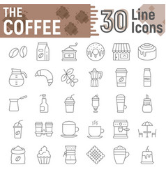 coffee thin line icon set coffee shop symbols vector image