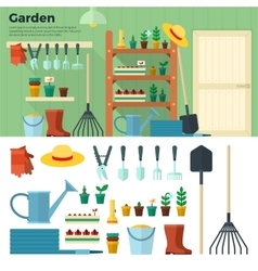 Concept of Gardening Tools for Working in Garden vector image