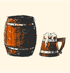 craft beer wooden barrel pub sketch vector image